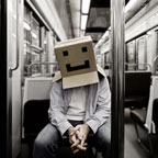 Cardboard Box Head #12 - Box on the move (photographie conceptuelle)