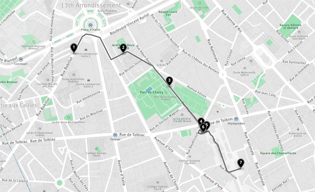 Carte de l'itinéraire de la photo de nuit - studio Jiminy